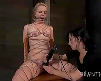 Poor blond white bitch bounded with threads got her love tunnel toyed