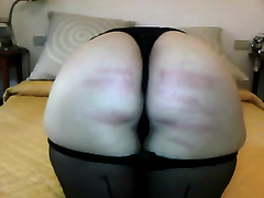 Big white corpulent a-hole in hawt dark nylons caned hard in couch