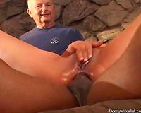 Lustful sweetheart enjoys interracial anal sex in front of 2 voyeurs