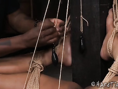 Hot swarthy thrall girl with nice-looking body tortured by her slutty slavemaster