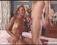 Ebony babe sucks a white prick in advance of taking it in her vag