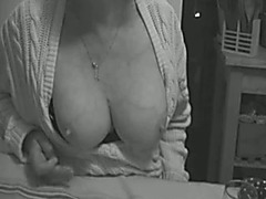 European older slutty wife teases with her saggy large boobies