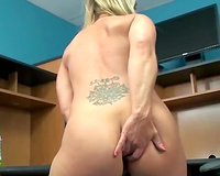 Lusty blonde mamma rubs her ruined wet crack with her fingers