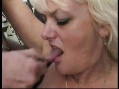 Busty golden-haired aged doxy acquires dicked untill male cumshot