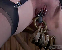 Unthinkably lustful chick receives her cunt stretched out in this BDSM scene