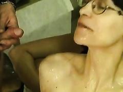 Nerdy milf with curly cum-hole enjoys gangbang and golden rain
