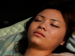 Oriental temptress with large bra buddies receives her unshaved cunt drilled worthy