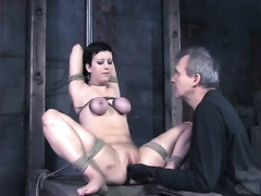 Short-haired wench receives her love tunnel torn up in astounding BDSM movie scene