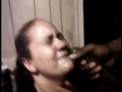 Fat slut sucks my BBC passionately until that babe receives a facial