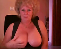 Webcam grandma drives me crazy with her large round knockers