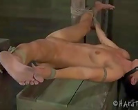 Nasty dark brown bitch involved in s&m play by her sexy mistresse