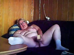 My chunky older husband masturbates and receives drilled by me