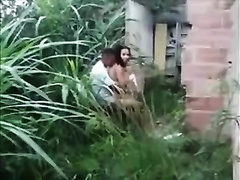 I caught my buddy fucking his corpulent girlfriend in the garden