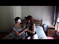 SEXY MASK FETISH LESBIAN GIRLS KISSING AND STRIPTEASE