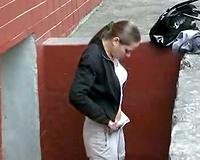 Busty Russian dark brown pees in her panties on voyeur non-professional clip