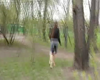 Busty Russian dark brown pees in her panties on voyeur non-professional clip