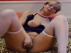 Horny Euro mother I'd like to fuck in glasses masturbates with sextoy on cam for me