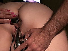Doggy style anal sex with my chunky white hotwife and her toys