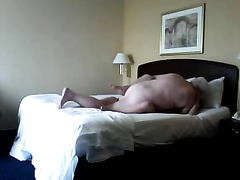Hot golddigger skank blows me in the hotel room on webcam