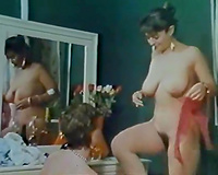 Three sexually excited vintage strumpets sharing 2 studs in this orgy