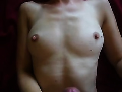 Skinny Euro girlfriend gives me cook jerking and takes large load on her mangos