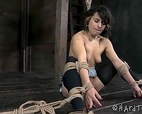 Bounded chick with miniature tasty boobies and round a-hole restrained by her slavemaster