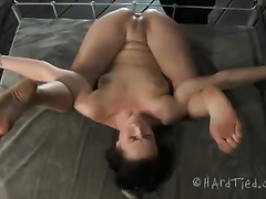 Sweet dark brown babe with great skinny body is bounded by her dominant