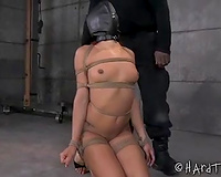 Sexy dark wife with dyed hair rides dildos attached to the floor