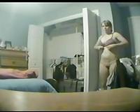 Hidden cam in my room to catch my enchanting busty girlfriend
