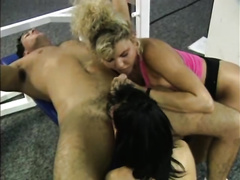 Two lusty chicks and one freaky tutor have astounding trio after fitness classes in gym