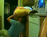 Chubby hotwife gets her cookie licked and drilled in the kitchen
