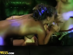 Nasty beauties with skinny bodies involved in group sex at the party