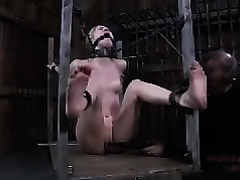 Bound blond enjoys many kinds of tortures in a sexy BDSM movie scene