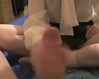 College Married slut wearing a blouse massages my prick in POV clip