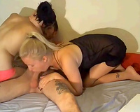 Lucky fellow acquires dick sucked by 2 hotties in his room all night lengthy