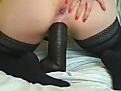 Amazing homemade video with my housewife riding a dark dildo
