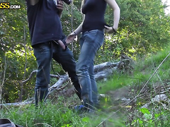 Busty non-professional dirty slut wife sucks and rubs a dude's wang in the forest