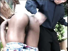 Black playgirl with a peachy bottom is giving head like a sex mistress