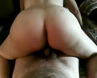 Voluptuous white BBC slut rides my cock in reverse cowgirl position