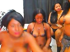A large bunch of soaked black skin big beautiful woman ladies flashing on web camera