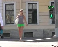 Blonde Russian honey in hot shorts releases a gallon of void urine
