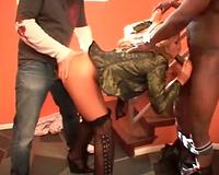 Slut bent over by 2 men in the foyer
