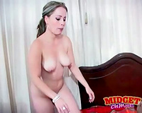 Pretty white BBC slut gives head to darksome midget