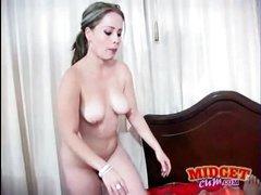 Pretty white BBC slut gives head to darksome midget