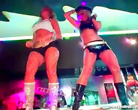Hot body ladies laid by darksome dongs in night club