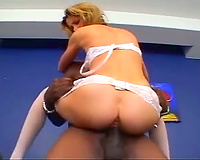 Sluttu wife in white stockings takes huge black cock
