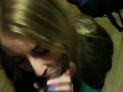 Pretty blond fuckbuddy milks my dark weiner dry in her face hole
