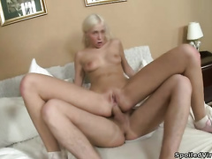 Lustful honey with tiny tits receives her backdoor drilled hard