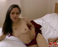 Sweet looking playgirl Jasmine shows off her diminutive bumpers