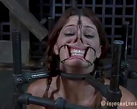 Bounded whore with extender and episodes on her face acquires her snatch toyed